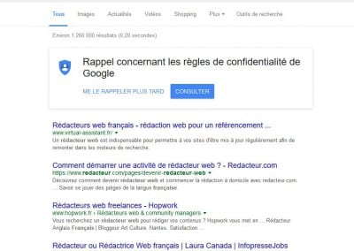 1er dans Google pour cette agence de rédaction web